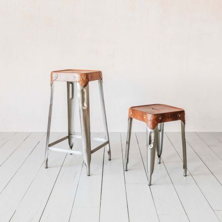 Finley Iron and Leather Stools