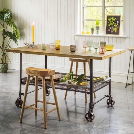 Industrial Brass and Iron Table Island
