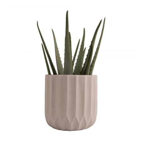 Large Ivory Ribbed Cement Planter