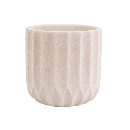 Medium Ivory Ribbed Cement Planter