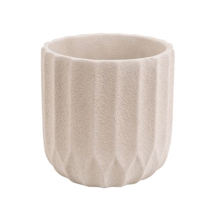 Small Ivory Ribbed Cement Planter