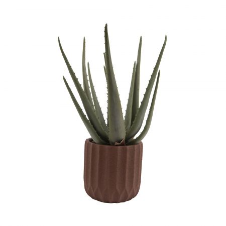 Medium Brown Ribbed Cement Planter