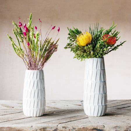 Glazed White Vases