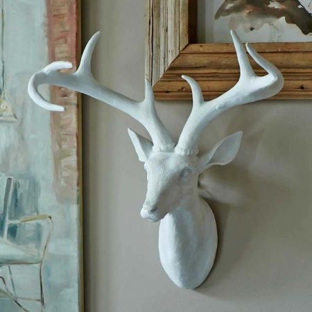 White Resin Stag Head with Antlers - Thumbnail