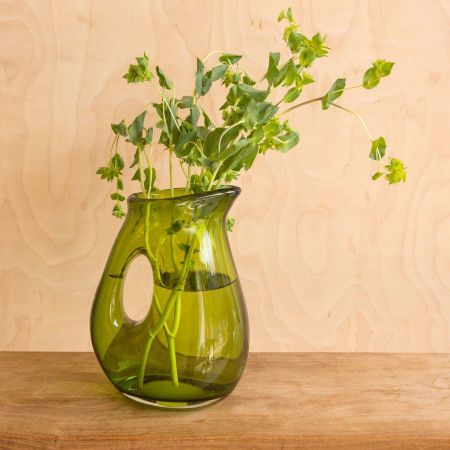 Moss Green Jug with Hole