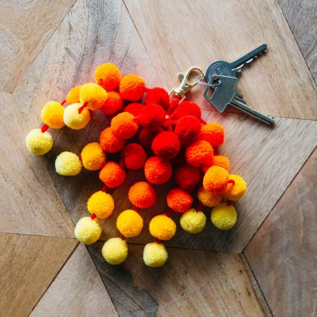 Orange Ombre Pom Pom Bag Charm