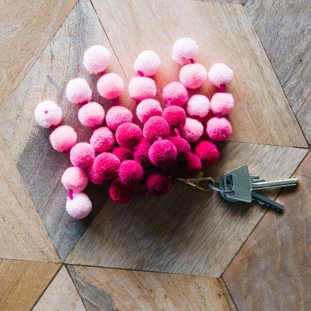 Pink Ombre Pom Pom Bag Charm