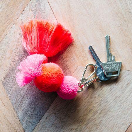 Flamingo Pom Pom Keyring