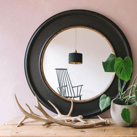 Blake Round Antiqued Black and Gold Mirror