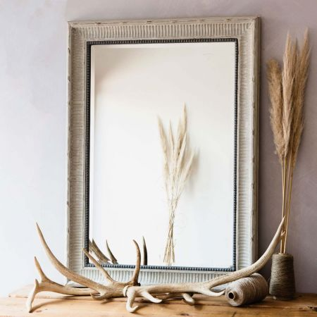 Grey Bevelled Wooden Mirror