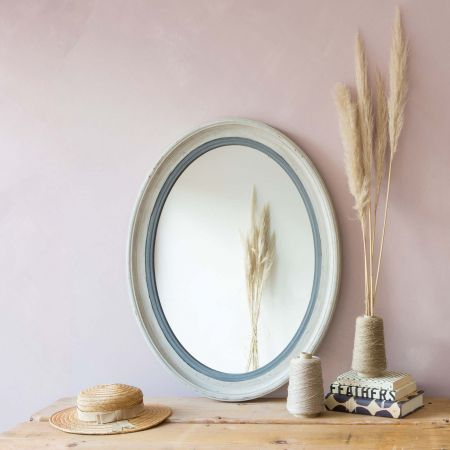 Blake Oval Grey Mirror