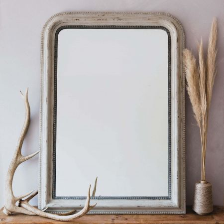 Charlie Small Grey Beaded Mirror