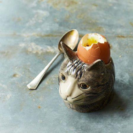 Grey Tabby Cat Egg Cup