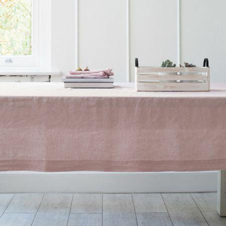 Blush Pink Linen Tablecloth