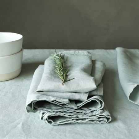 Set of Four Sage Green Linen Napkins