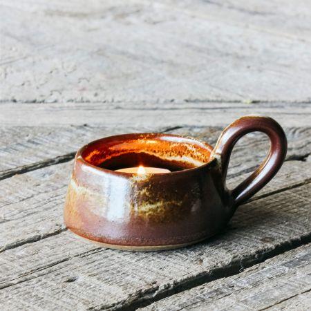 Stoneware Cup Tea Light Holder