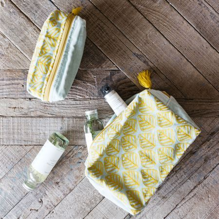 Ava Light Blue and Yellow Leaf Wash Bags
