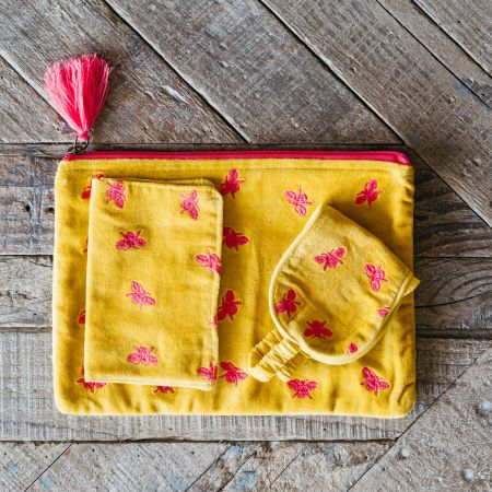 Ava Yellow and Fuchsia Bee Travel Set