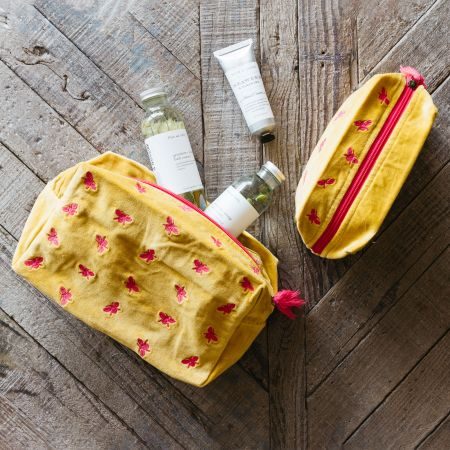 Ava Yellow and Fuchsia Bee Wash Bags