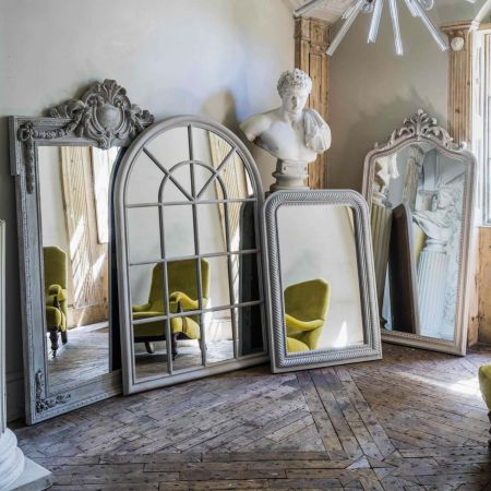 Grey Arched Window Mirror