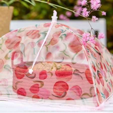 Peach Print Mesh Food Cover