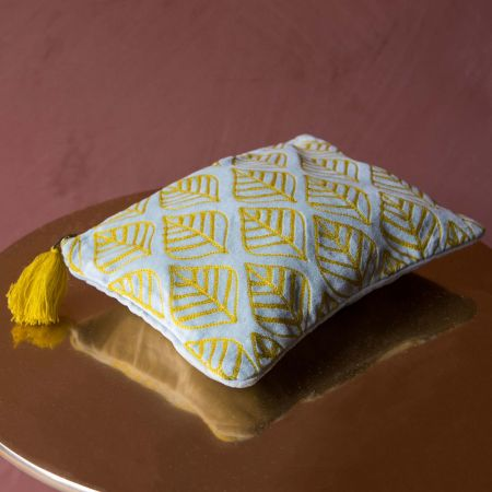 Ava Large Light Blue and Yellow Leaf Velvet Pouch