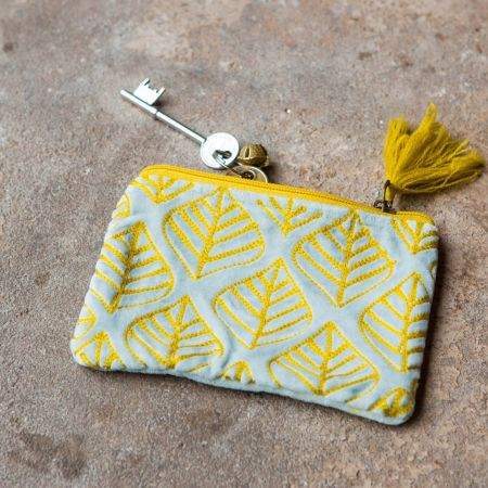 Ava Small Light Blue and Yellow Leaf Velvet Pouch