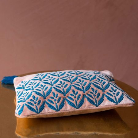 Ava Pink and Blue Velvet Pouch