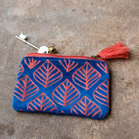 Ava Small Blue and Pink Velvet Pouch