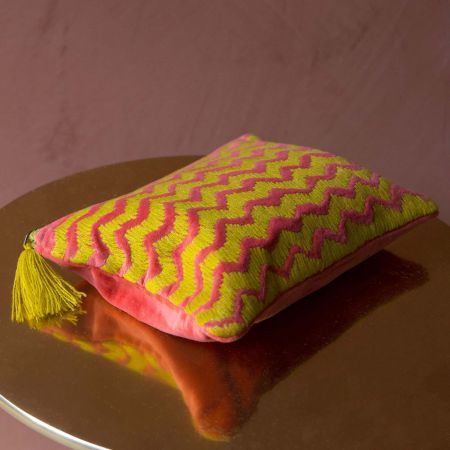 Ava Large Fuchsia and Yellow Zig Zag Velvet Pouch