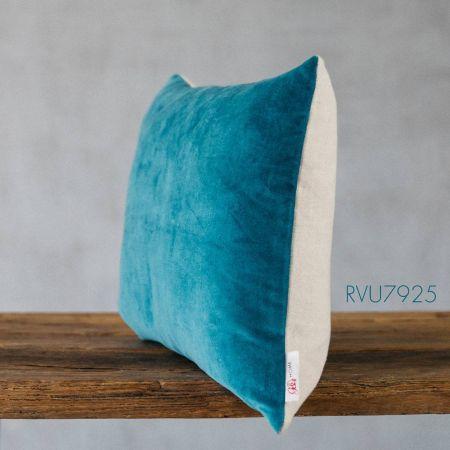Light Blue Velvet Rectangular Cushion
