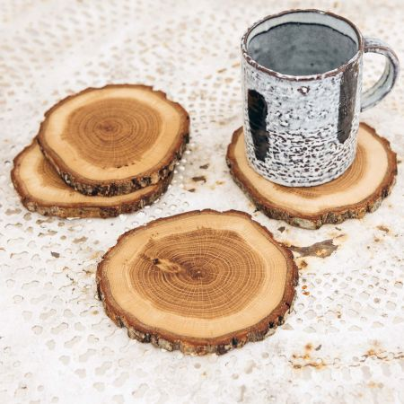 Set of Four Oak Slice Coasters