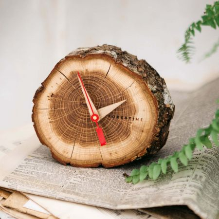 Oak Slice Table Clock
