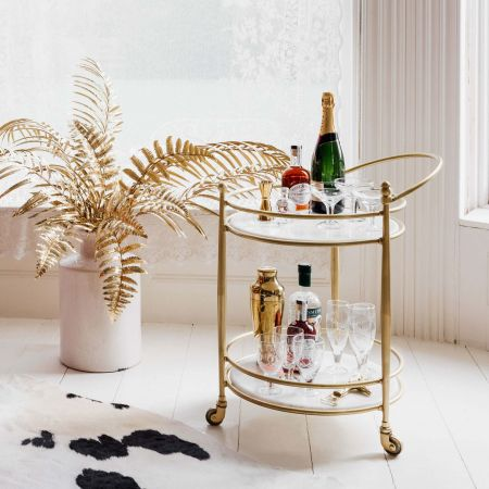Round Drinks Trolley with Marble Shelves