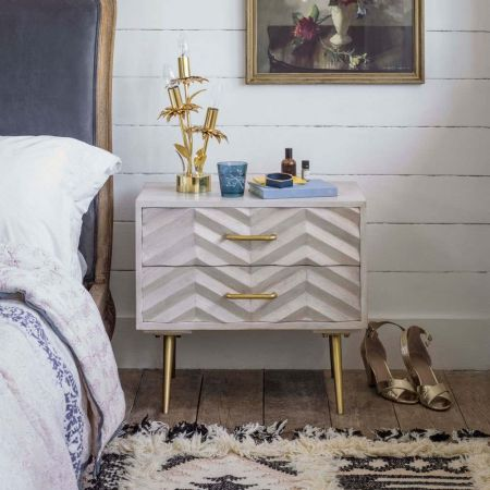 Ariella Chevron Large Bedside Table