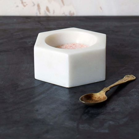 Hexagon Marble Salt Pinch Pot - Thumbnail