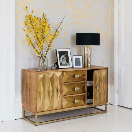 Umberto Three Drawer Brass Sideboard