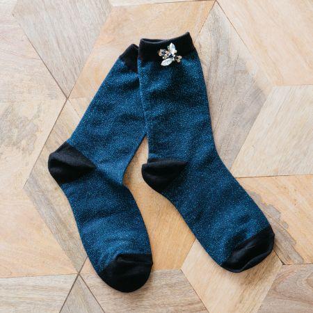Navy Glitter Socks with Bee Pin