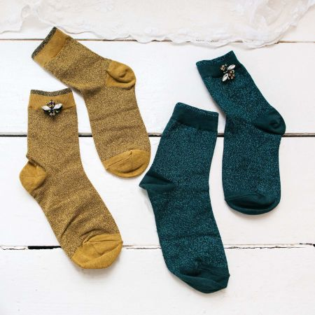Sparkly Teal Socks with Bee Pin
