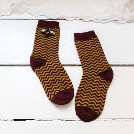 Sparkly Burgundy Chevron Socks with Bee Pin