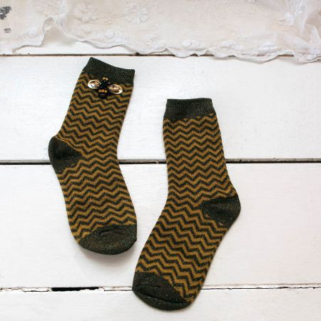 Sparkly Olive Chevron Socks with Bee Pin