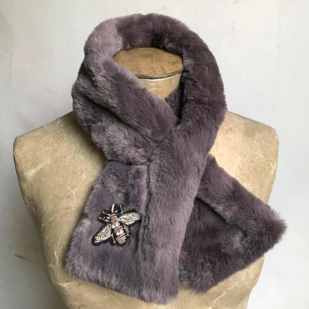 Grey Faux Fur Stole with Insect
