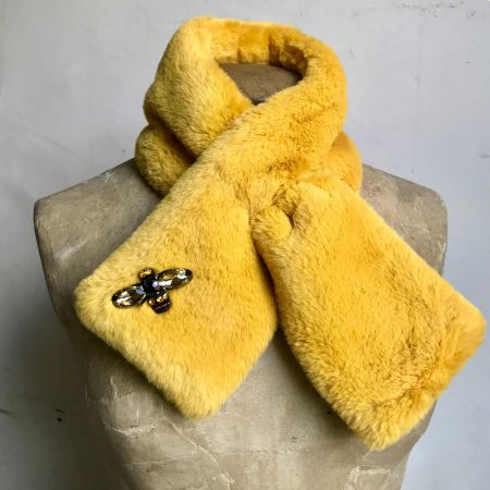 Yellow Faux Fur Stole