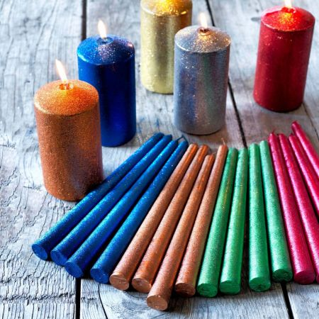 Set of Four Glitter Tapered Candles - Thumbnail