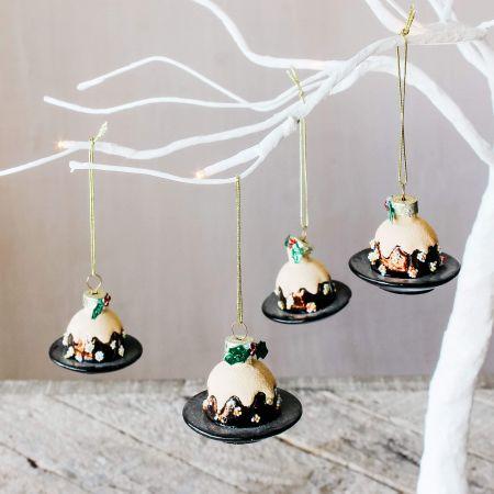 Set of Four Christmas Pudding Decorations