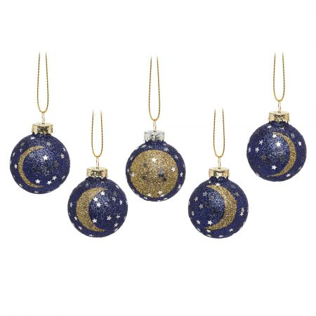 Set of Five Moon and Stars Bauble