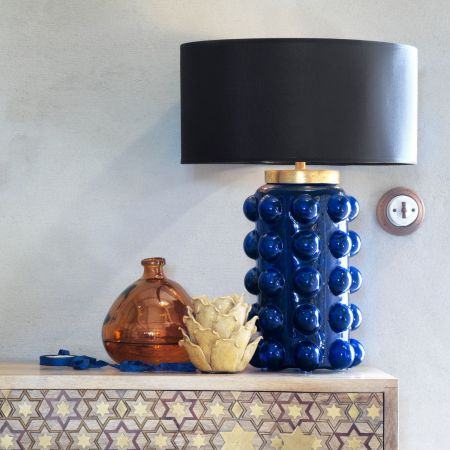 Deep Navy Bobble Table Lamp