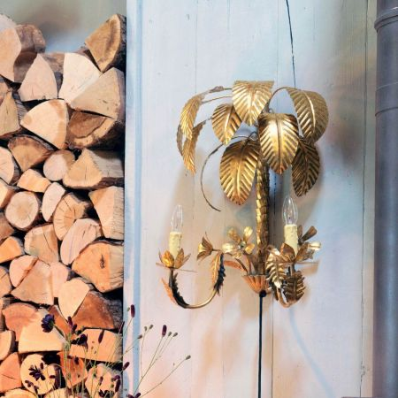 Gold Palm and Flower Wall Sconce - Thumbnail