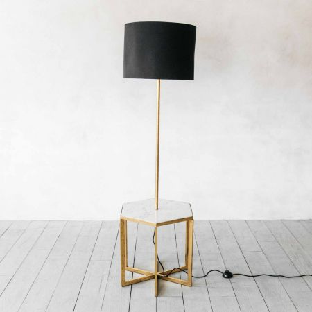 Gianna Hex Side Table with Floor Lamp and Shade