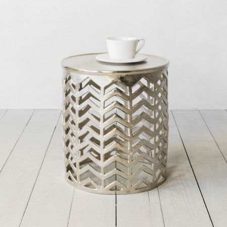 Silver Chevron Side Table
